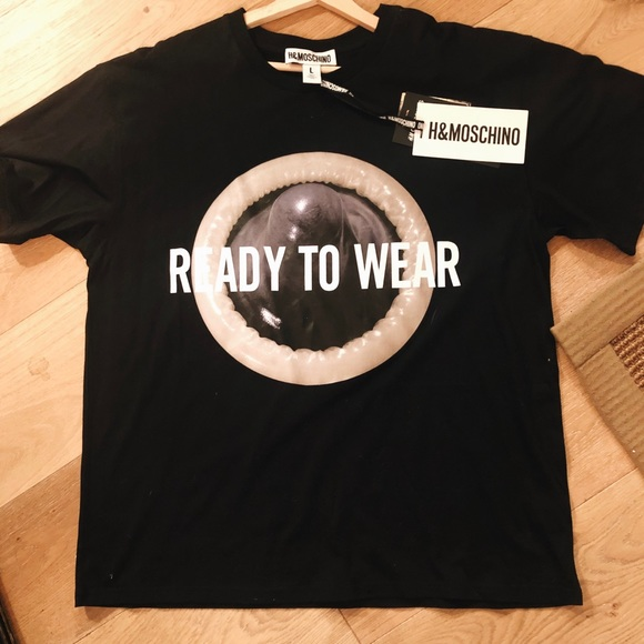f090e8123e Moschino Tops | X Hm Ready To Wear Condom Collabo Shirt | Poshmark